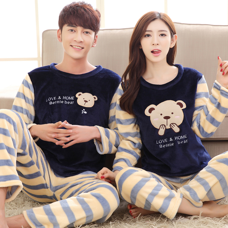 Couples Winter Thick Warm Flannel   Pajamas     Sets   for Women Long Sleeve Coral Velvet Pyjama Cute Cartoon Homewear Men Home Clothing