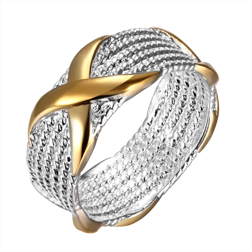 Wholesale Price Silver Plated Men's Ring With Gold Color X Cross Shape Wedding Party Jewelry Gift Full Size Rings For Women