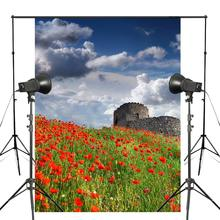 Blue Sky Photography Background Poppies Backdrop Studio Background Prop Wall Clouds Nature Flower Photography Backdrop 5x7ft vinyl photography backdrop vintage photo studio photographic background flower wall floral newborns kids background 5x7ft f1913
