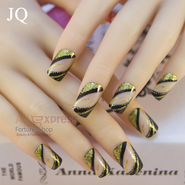 Jq 24 Pcs Acrylic Nails Pre Designer Nail Art Tips False French
