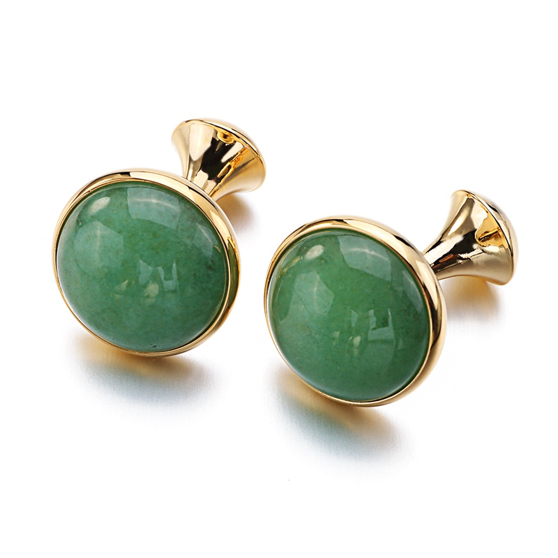 Low-key Luxury Opal Cufflinks For Mens Gold Color Plated High Quality Brand Round Green Cat's Eye Stone Cuff Links Best Gift
