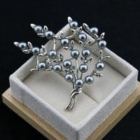2 ألوان عالية الجودة المرأة مجوهرات الساخن نمط يترك فضة لؤلؤة بروش دبابيس الكرتون شكل شجرة عشاق أفضل هدية