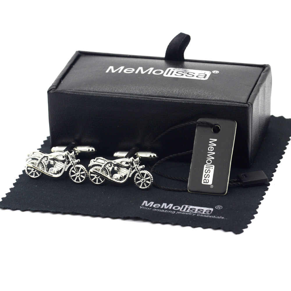 MeMolissa Display Box Cufflinks Classic Motorcycle Design Cufflinks Sports Style Solid Color Men Cufflinks Free Tag & Wipe Cloth
