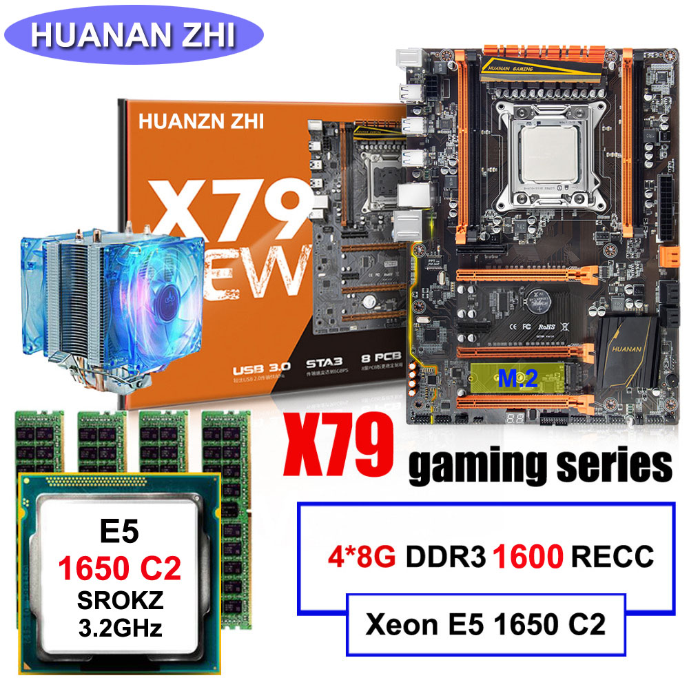 Hot selling HUANAN ZHI deluxe discount X79 motherboard with M.2 CPU Intel Intel Xeon E5 1650 C2 with cooler RAM 32G(4*8G) RECC brand new promotional huanan zhi deluxe x79 motherboard cpu intel xeon e5 2620 srokw ram 32g 4 8g ddr3 1600 recc all tested