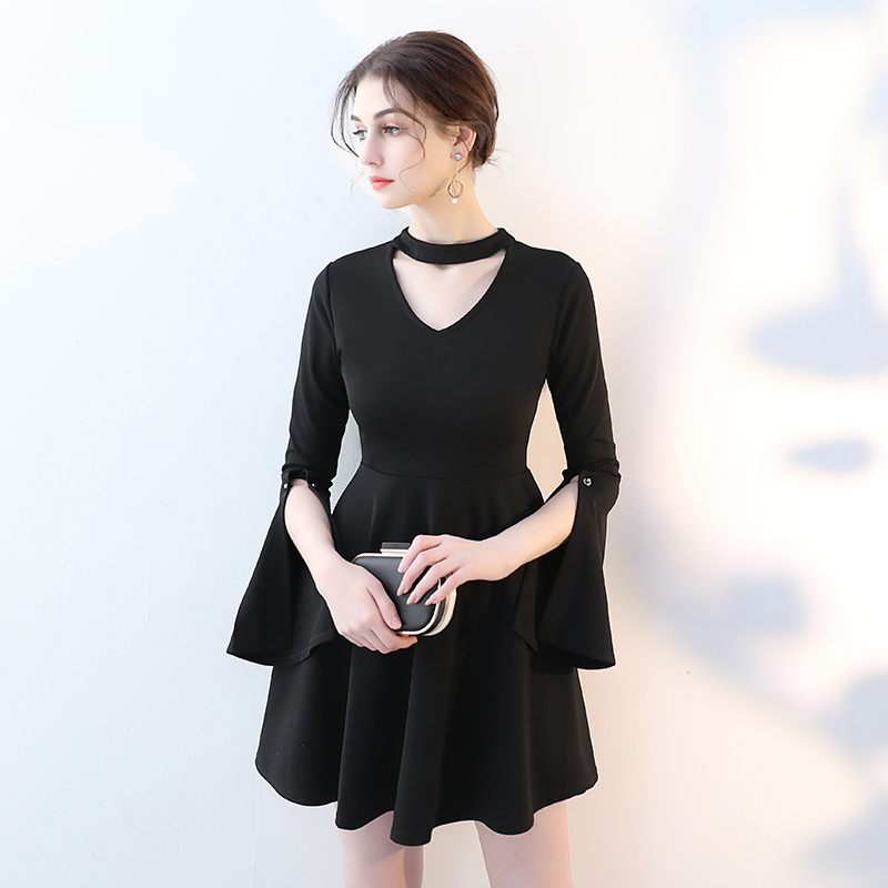 Fonds de 2018 automne hivers est suspendu col en v sexy robe robe rendre les femmes cultivent la moralité petite robe noire