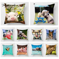 Fuwatacchi Pig Painting Cushion Cover Cut Pig Animal Throw Pillows Case Sofa Bed Decor Home Decorative Pillows Cover Pillowcase