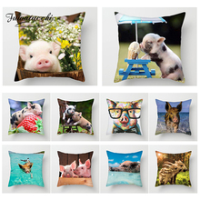 Fuwatacchi Pig Painting Cushion Cover Cut Pig Animal Throw Pillows Case Sofa Bed Decor Home Decorative Pillows Cover Pillowcase цены
