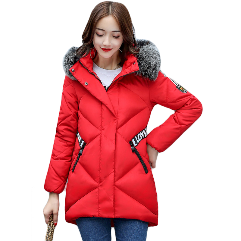 2017 New Famale Down Cotton Coats Women Winter Warm Large Fur Hooded Parkas Girls Medium-long Thick Slim Winter Jackets CM1704