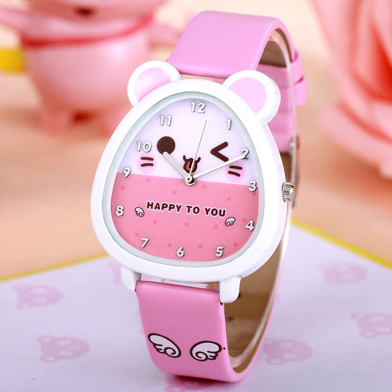 New Cartoon Children Watch Fashion Cute Princess Watches Leather Girls Party Gift Clock Students Girl's Leather Quartz Watch