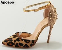 Фотография 2017 Hot Selling American and European Pointed Toe Rivets leopard Print Women Pumps Thin and high Heels Shoes
