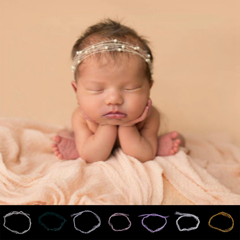 2019 New Newborn Baby Mohair Pearl Headband Headwear Hair Accessories Photography Props Gift
