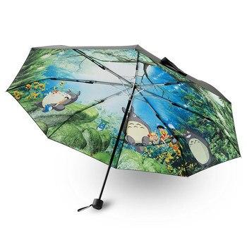 Paraguas de dibujo de Totoro de Anime para Mujer, sombrilla de lluvia...