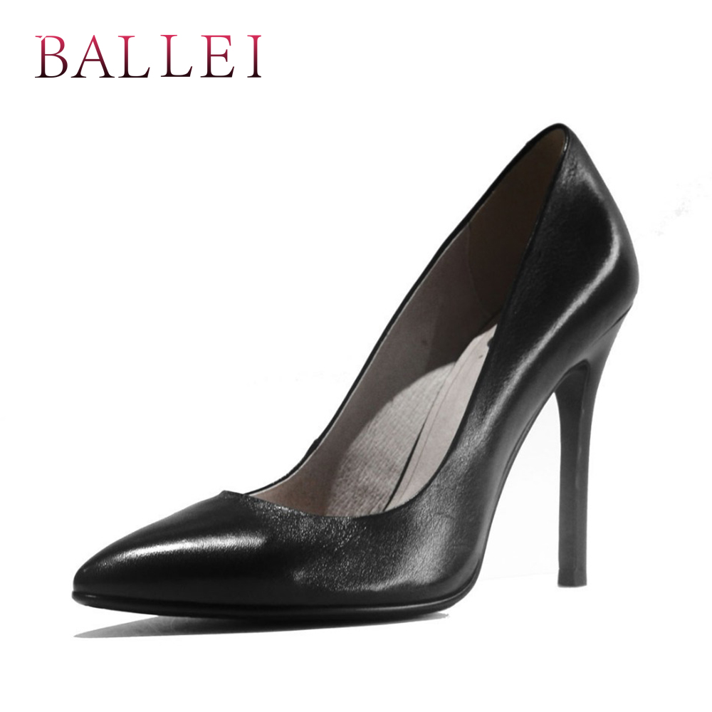 Elegant Slip on Woman Pump Luxury Vintage Genuine Leather Solid Shoes Sexy Pointed Toe Thin Heel Soft Office Lady Pump X4 in Women 39 s Pumps from Shoes