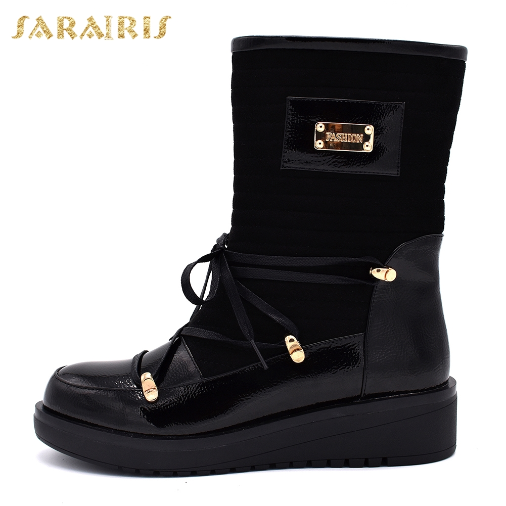 94d69fa49cd SARAIRIS New plus Size 35-40 Dropship Lace Up Women Boots Woman Shoes Wedge Heels  Mid Calf Boots Shoes Woman