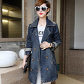 New Style Double Breasted Denim Trench Coat for Women Casual Plus Size 3 4 5 XL Turn-down Collar Epaulet Slim Long Trench NZHY08