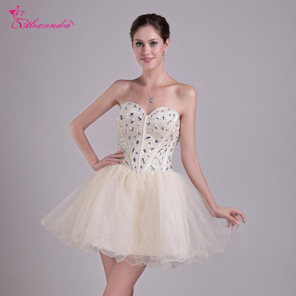 Alexzendra Champagne Organza Mini Short   Prom     Dresses   2018 Beaded Short Party   Dresses   for Girls