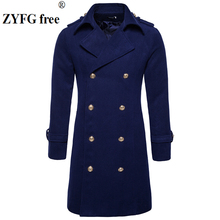 2017 Tops style new mens windbreaker high-quality winter Double breasted men casual Epaulettes X-long woolen overcoat size S-XXL все цены