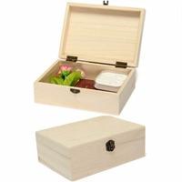 Новый домашний ящик для хранения натурального дерева с крышкой золотой замок открытка Органайзер ручной работы ремесло ювелирный корпус деревянный ящик шкатулка для дома