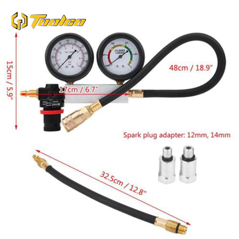 0 100PSI Cylinder Leak Tester TU 21 Compression Leakage Tester Detector Kit Set Petrol Engine Gauge Tool Set Automobile Tools in Pressure Gauges from Tools