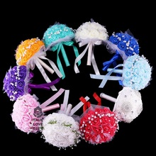 9 Colors Rose Foam Flower Rhinestone Bouquets Romantic Handmade Bridal Bouquet With Small Daisy Ribbon Wedding Accessories