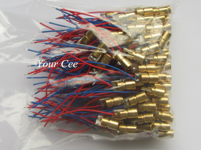 100pcs 650nm 6mm 3V 5mW  Laser Dot Diode Module Red Copper Head