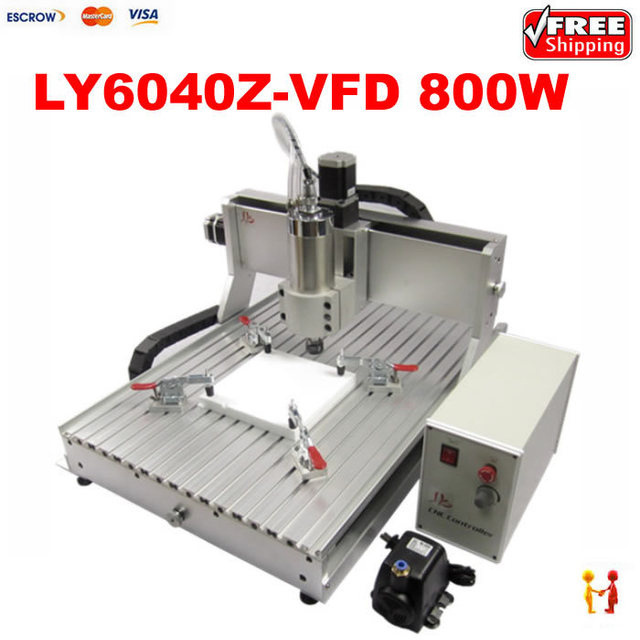 Free Shipping Desktop 3 Axis Cnc Milling Machine Ly Cnc Router 6040 Z Vfd