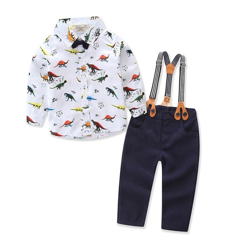 2019 Latest Design Formal Party Dinosaur Pattern Long Sleeve Cartoon Shirt+pant Baby Boy Clothes Newborn Winter Autumn Christmas Birthday Clothing