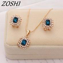 ZOSHI New Fashion Austria Crystal Earrings Necklace Sets Women Bridal Classic Wedding rhinestone romantic Jewelry Set Wholesale