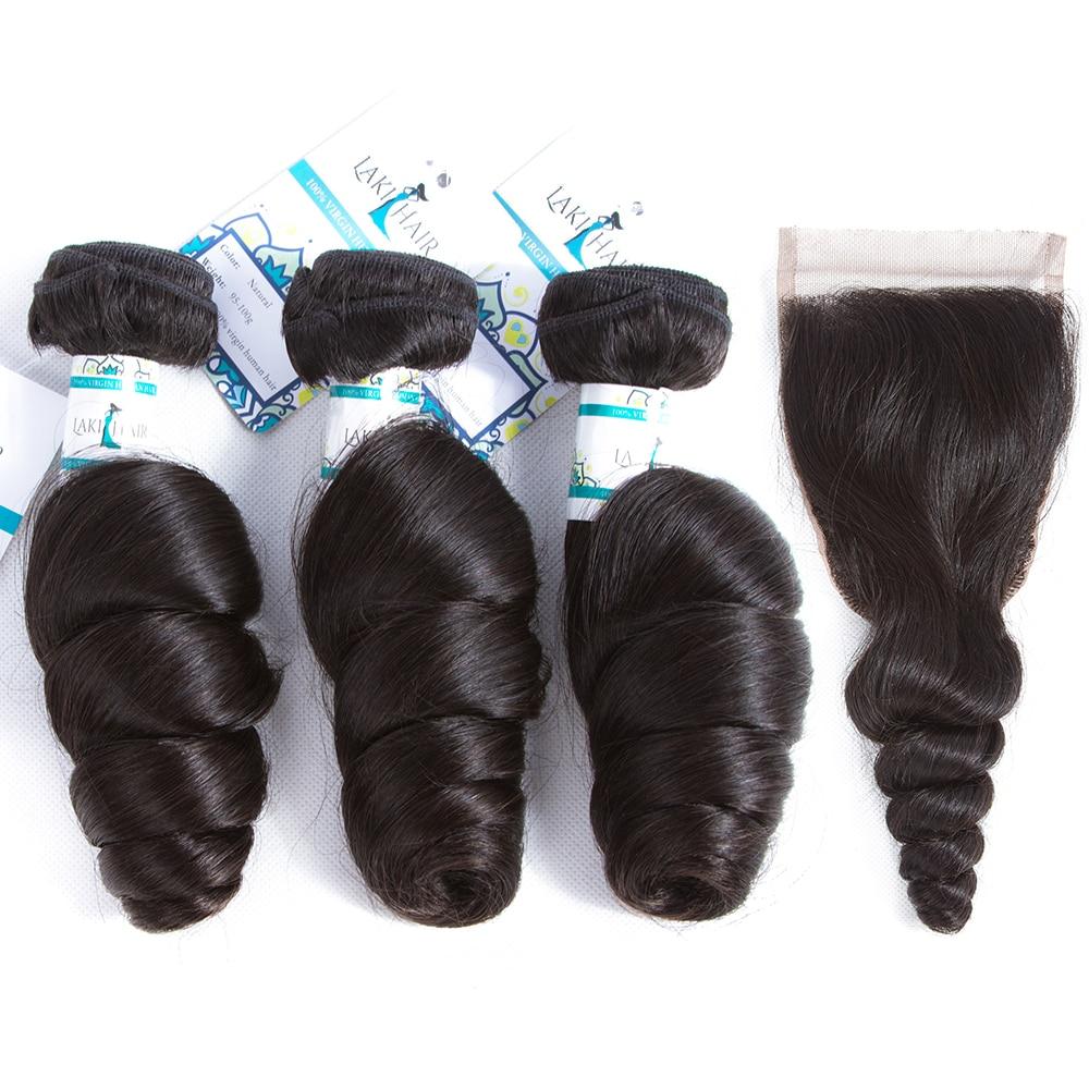 LakirHair Brazilian Loose Wave Bundles With Free Part Closure Remy 4PCS/LOT Human Hair Weave Bundles Free Shipping