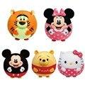 Alta qualidade 5 estilos bonito apaziguar chocalhos toys infantil dos desenhos animados do bebê macia bola & inodoro anel dentro