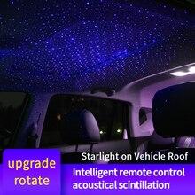 새로운 자동차 스타일링 usb 인테리어 장식 조명 원격 제어 회전 스타 스카이 레이저 램프 자동 프로젝션 음악 분위기 빛