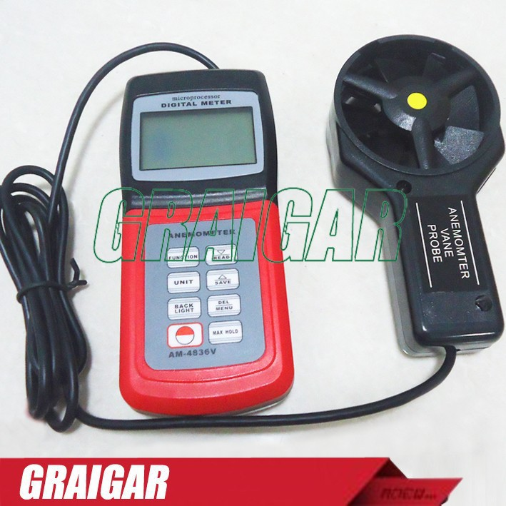 Free shipping AM-4836V Digital Anemometer Air Flow Speed am 4822 digital anemometer
