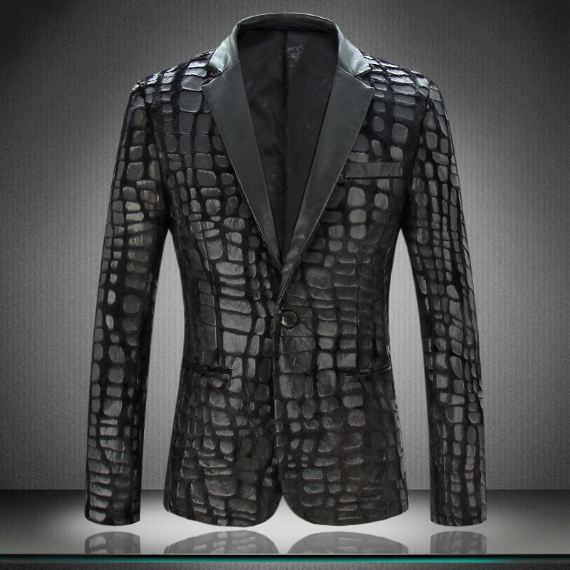 men blazer jacket 2017 new arrival mens designer blazers faux leather spliced velvet suit. Black Bedroom Furniture Sets. Home Design Ideas