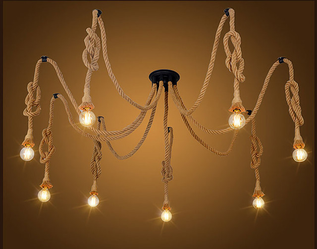 Art Decoration Diy Hand Made Vintage Loft Hemp Rope Chandelier Lights Retro Spider Ceiling For