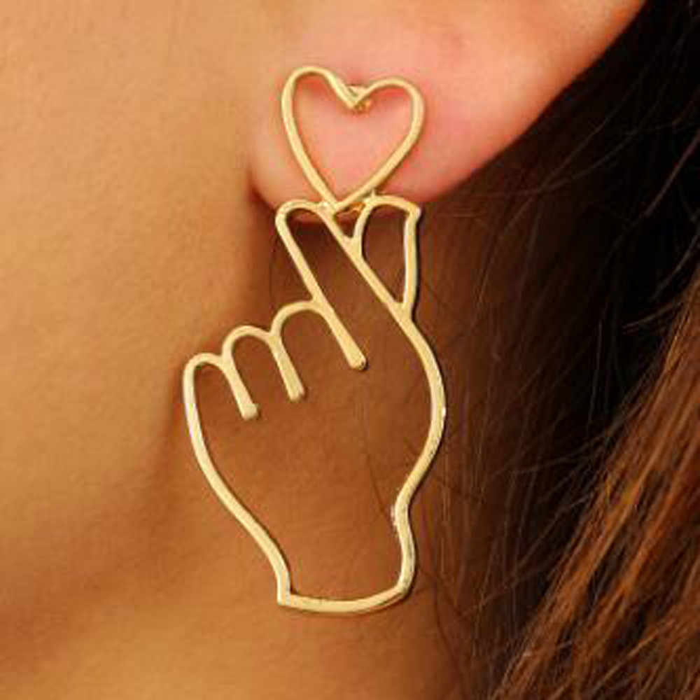 1 Pair Finger Heart Alloy Earrings Hollowed Out Love Ear Studs Ornaments Jewelry Accessories Bijoux Superb Oorbellen Pendant