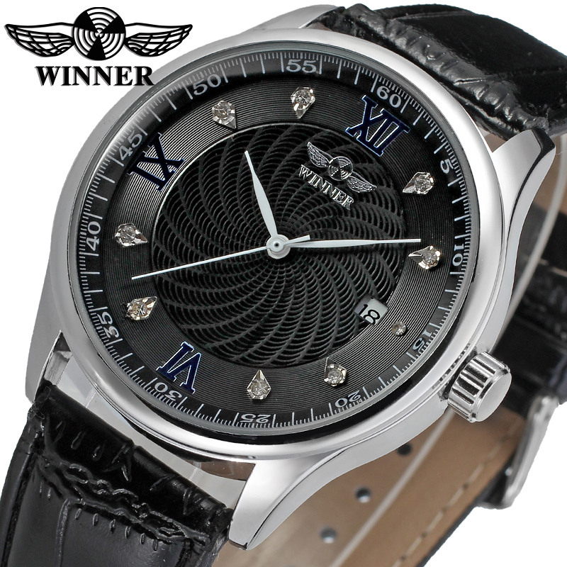 Fashion WINNER Men Luxury Brand Business Date Display Leather Watch Automatic Mechanical Wristwatches Gift Box Relogio Releges fashion winner men luxury brand date leather band casual watch automatic mechanical wristwatches gift box relogio releges 2016
