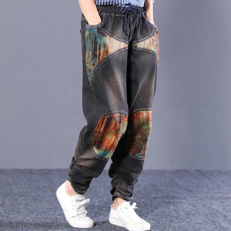 La Cintura Grey Mujer Convergente Pantalones Vaqueros Chica Patchwork Dark Collage Elástica Harem Lavado Retro Moda x1fvf