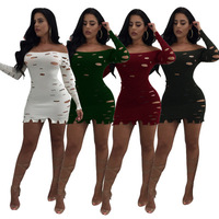 Sexy Slash Neck Bodycon Minikleider Frauen Herbst Langarm Machen Loch Strickkleid Partei Clubwear Vestido de festa