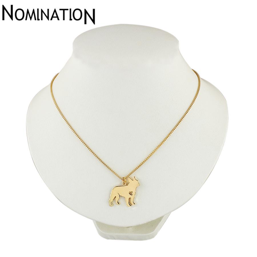 Ожерелье в виде французского бульдога украшение с золотым покрытием