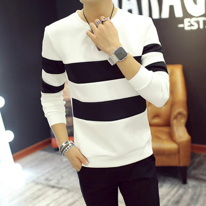 Spring Autumn Men Printed Long-sleeved T-shirt Teen Round Neck Stripe Bottom Top Fashion Casual Men's Clothing