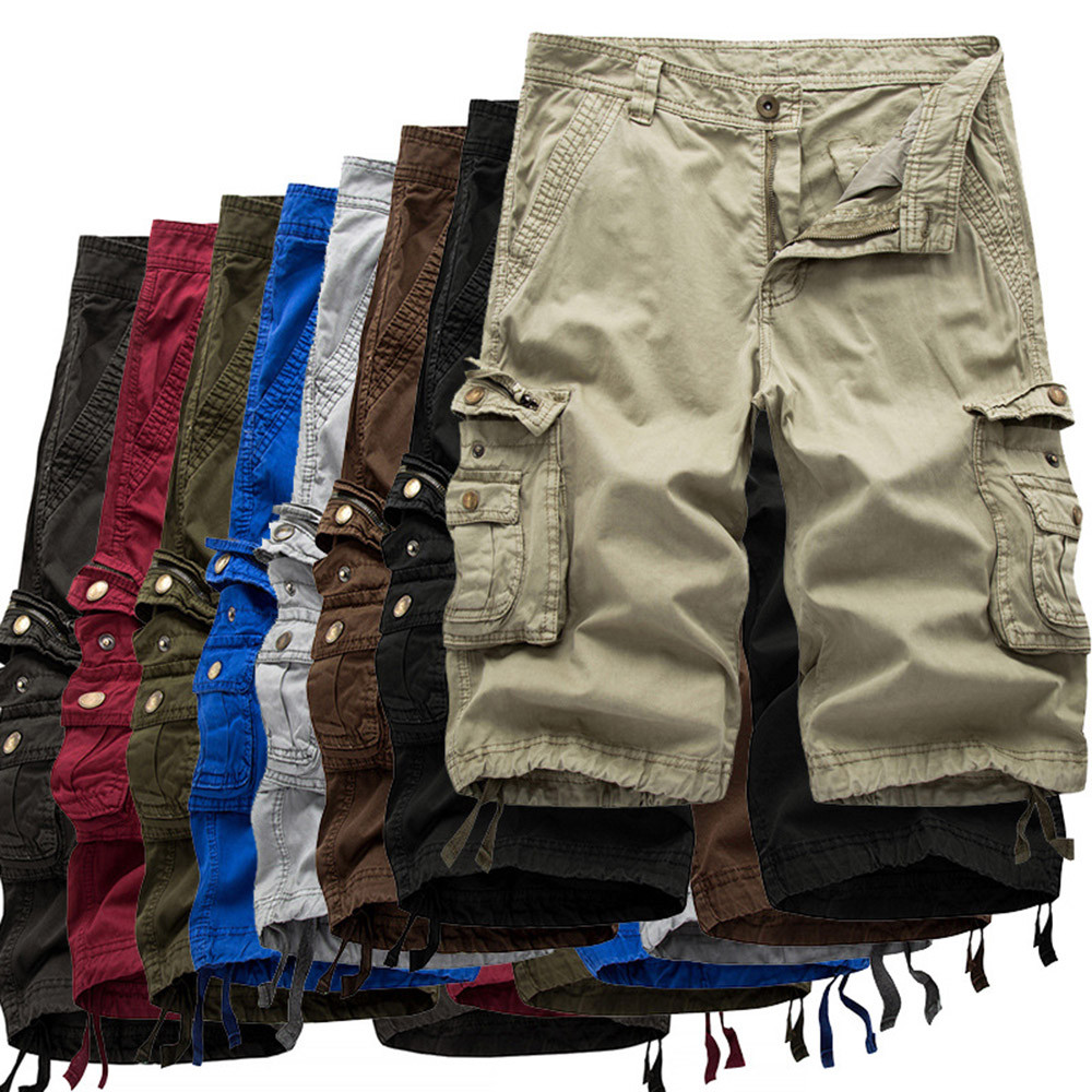 Mens Casual Pure Color Outdoors Pocket Beach Work Trouser Cargo Shorts Pant