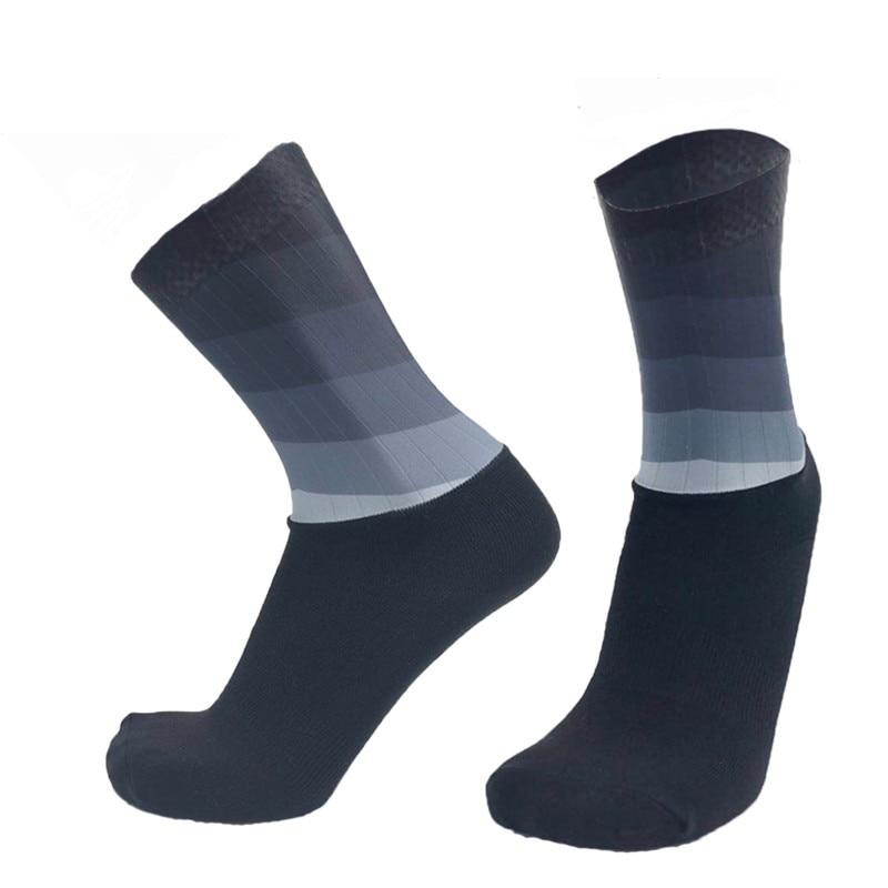 Unisex Anti Slip Silicone Socks Whiteline Cycling Socks Men Bicycle Sport Running Bike Socks
