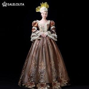 Платье кофейного цвета Рококо Мария Антуанетта 18 век, готическое платье для вечеринки в викторианском стиле, женские костюмы с оборками