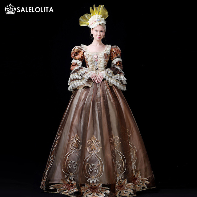 ca67b52a3b5cf Hot Sale Coffee 18th Century Rococo Marie Antoinette Dress Gothic Victorian  Period Party Dress Theater Ruffle Women Costumes