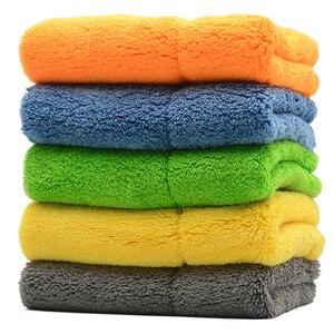 Image 1 - 5PCS 800GSM 40cmx30cm Super Thick Plush Microfiber Car Cleaning Cloth Car Care Wash Microfibre Wax Polishing Detailing Towel