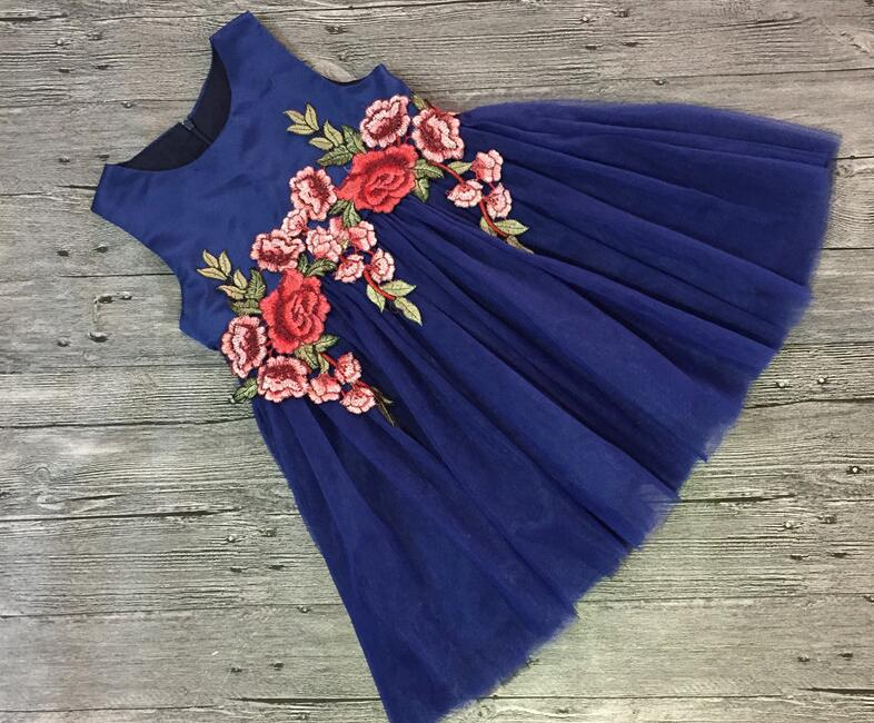 Blue Lace   Flower     Girl     Dresses   Appliques Kids Prom Wedding   Dress   Ball Gown Pearls   Girl   Pageant   Dress   Vestidos de comunion