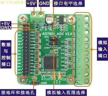 Módulo de adquisición de datos del módulo AD7606 16 bits ADC 8 vías frecuencia de muestreo síncrono 200 kSPS