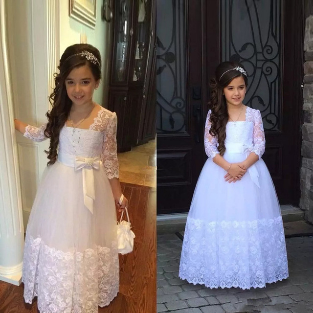 7c7540edb Stunning Flower Girls Dresses For Weddings Appliques Lace Tulle Floor  Length First Communion Dresses Junior Bridesmaids