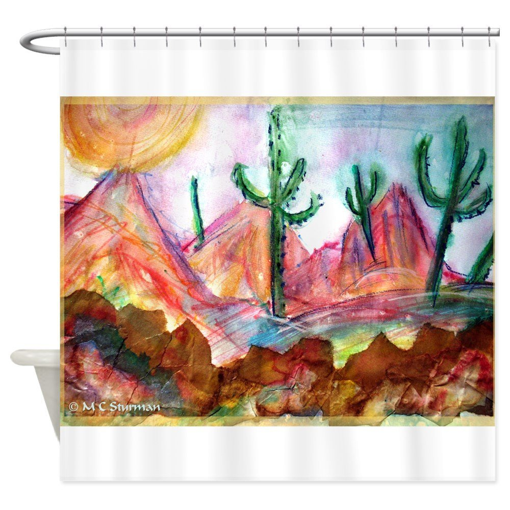 Desert! Southwest art! Shower Curtain Decorative Fabric Shower Curtain Bath Products Bathroom Decor with Hooks Waterproof