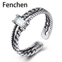 Fenchen Vintage 925 Sterling Silver Open Ring for Women Anniversary Fine Jewelry Bagues Femme Joyeria Fina Para Mujer Gift AR044